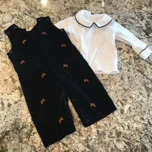 Other - Baby Boy Corduroy Overalls with Horses Set